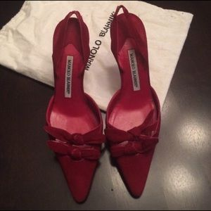 Manolo Blahnik red bow pumps